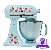 Star Patterned Kitchen Stand Mixer Front/Back Decal Set - Orange Metal Flake