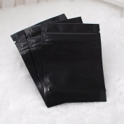 100 Glossy Black Two-Sided Aluminium Mylar Zip-Lock Flat Style Bags Outer Size 8.5x13cm