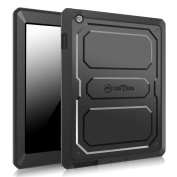 Fintie iPad 2/3/4 Case - CaseBot Tuatara Series Rugged Unibody Dual Layer Hybrid Full Protective Cover with Built-in Screen Protector and Impact Resistant Bumper for iPad 4, iPad 3 & iPad 2, Black