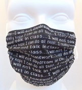 Breathe Healthy CHILD Size Dust, Allery & Flu Mask; Allergy Mask for Kids - Filters Dust, Pollen, Allergens, & Flu Germs with Antimicrobial Germ Killing Agent; Chalkboard Words Design