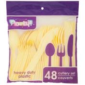 YELLOW Plastic Utensils, 48-ct. Packs (16 Forks, 16 Spoons & 16 Knives)