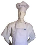 Chefskin Chef White Adult Chef Set (Apron+hat) Adjustable, Ultra Lite Fabric