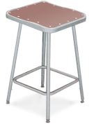 National Public Seating 6318H Grey Steel Stool with Square Hardboard Seat Adjustable and Backrest, 48cm - 70cm