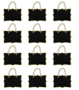 Miraclekoo 12 Double Sided Fancy Rectangle Rope Hanging Mini Chalkboard for Wedding Gift Tags Party Favours Storage Labelling Tags