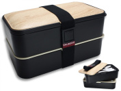 Premium Bento Box Lunch Box by GRUB2GO + FREE BENTO IDEAS GUIDE + FREE Utensils - Designer Lunch Boxes for Adults and Kids