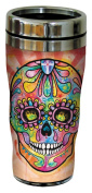 Tree-Free Greetings 78214 Dean Russo Spectral Sugar Skull Sip 'N Go Stainless Lined Travel Mug, 470ml