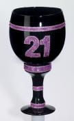 21st Birthday Celebration Goblet with Pink Glitter and Rhinestones