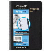 AT-A-GLANCE Daily Appointment Book / Planner 2016, Wirebound, 12cm x 20cm , Black