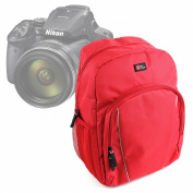 DURAGADGET Premium Quality Water-Resistant Red Backpack With Black Rain Cover for the NEW Nikon Coolpix P900