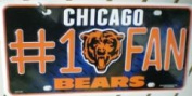 Chicago Bears Official NFL 30cm x 15cm Metal #1 Fan Licence Plate by Rico Industries