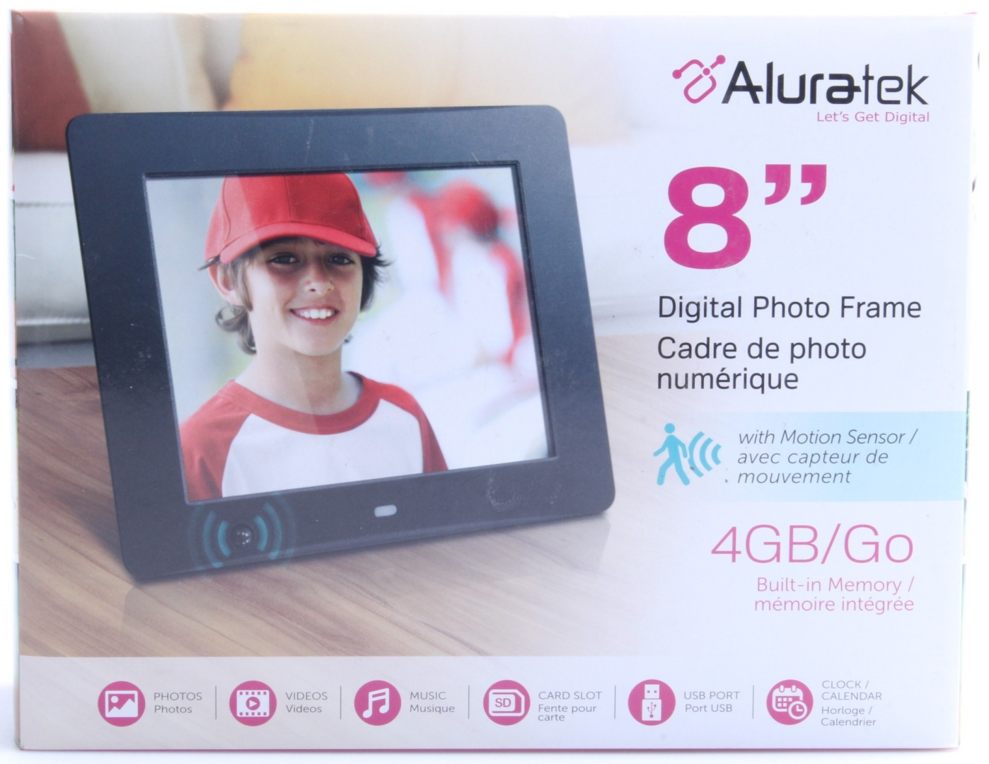 Aluratek Admsf108f 8 Inch Digital Photo Frame With Energy Efficient