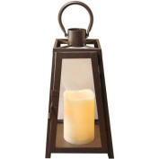 Metal Lantern with LED Candle, Black Tapered
