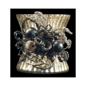 Set of 3 Beaded Clusters Decorative Antique-style Pewter Votive Candle Holder 15cm