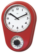 Bai Retro Kitchen Timer Wall Clock, Red