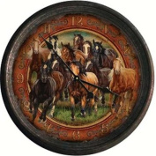 River's Edge Products REP1021 Running Horses Vintage Tin Wall Clock