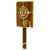 Curved Glass Clock with Pendulum in Brown