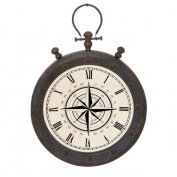 EC World Imports 42cm Urban Weathered Metal Pocket Watch Design Hanging Wall Clock
