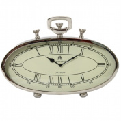 EcWorld Enterprises 7706872 49 Bond Street Classic 41cm . Polished Nickel Metal Table Clock