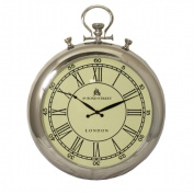 EcWorld Enterprises 7736872 49 Bond Street Classic 80cm . Polished Nickel Metal Wall Clock