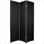 Oriental Furniture 1.8m Tall Woven Fibre Room Divider - 3 Panel - Black