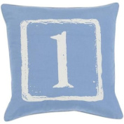 "20"" Cobalt Blue and White ""1"" Big Kid Blocks Decorative Throw Pillow"