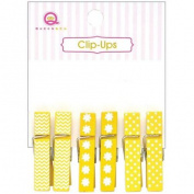 Clip-Ups Mini Clothespins 6/Pkg-Yellow