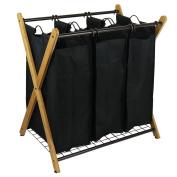 Oceanstar XBS1484 X-Frame Bamboo 3-Bag Laundry Sorter