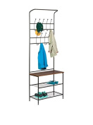 Honey-Can-Do Entryway Storage Valet with Coat Hanger and Shelves