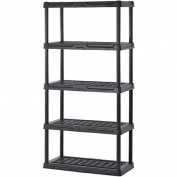 Sandusky 90cm W x 60cm D x 180cm H Five-Shelf Resin Shelving, Black