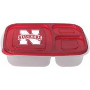 NCAA Nebraska Cornhuskers 3-Compartment Lunch Container, 2pk