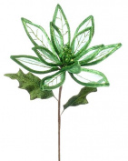 60cm Christmas Brites Green Linear Sheer Poinsettia Flower Spray