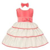 Baby Girls Coral Bow Rhinestone Headband Special Occasion Dress 12M