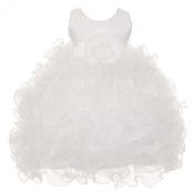 Baby Girls White Satin Sash Ruffles Flower Girl Special Occasion Dress 12M