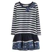 Richie House Little Girls White Navy Striped Floral Print Dress 1/2