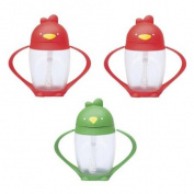 Lollacup Infant And Toddler Straw Cup, 3 Pack - Red/Green/Red