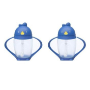 Lollacup Infant And Toddler Straw Cup, 2 Pack - Blue/Black