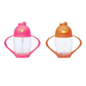 Lollacup Infant And Toddler Straw Cup, 2 Pack - Pink/Orange