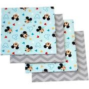 Disney Mickey Mouse Let's Go II Flannel Receiving Blankets, 4pk