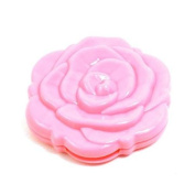 Pink Foldable Rose Pattern Double Sides Round Makeup Compact Mirror