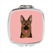 Carolines Treasures BB1211SCM Checkerboard Pink German Shepherd Compact Mirror, 2. 75 x 3 x . 7.6cm