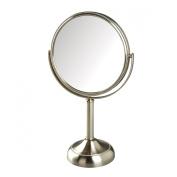 Jerdon JP918NB 10X Magnified Swivel Tabletop Vanity Mirror, Nickel Beaded, 1300ml
