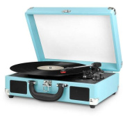 Innovative Technology Bluetooth Suitcase Turntable, Turquoise/White