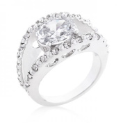 Icon Bijoux R08356R-C01-05 Clear Split Band Engagement Ring (Size