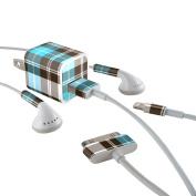 DecalGirl ACH-PLAID-TUR Apple iPhone Charge Kit Skin - Turquoise Plaid