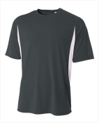 A4 N3181 Cooling Performance Colour Block Short Sleeve Crew - Graphite & White 3X