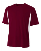 A4 N3181 Cooling Performance Colour Block Short Sleeve Crew - Maroon & White 4X