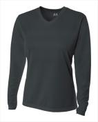 A4 NW3255 Womens Long Sleeve V-Neck Birds Eye Mesh Tee Graphite Extra Small