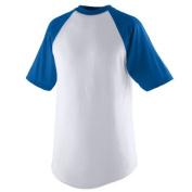 Augusta 423A Adult Short Sleeve Baseball Jersey White & Royal - Medium