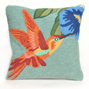 Trans-Ocean Imports 7FP8S152703 Frontporch Hummingbird Sky 46cm . Square pillow