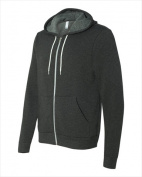 Bella-Canvas C3739 Unisex Poly-Cotton Fleece Full-Zip Hoodie - Dark Grey Heather Extra Large